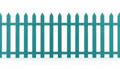 blue vintage fence rendered on white background - stock illustration
