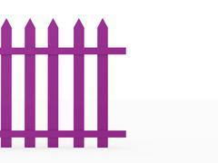 pink old fence isolated on white background - stock illustration