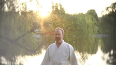 Karate practice slow motion slo mo Stock Footage