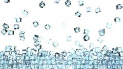 4K Ice cubes is falling down on a white - stock footage