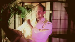 Karate master practicing in his dojo - stock footage