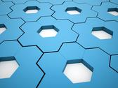 Stock Illustration of blue hexagonal gears rendered