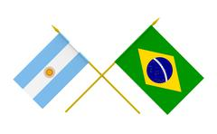 flags, brazil and argentina - stock photo
