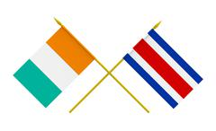 flags, costa rica and ivory coast - stock photo