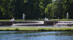 fountain, munich, nymphenburg castle - stock footage