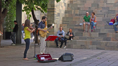 Italy, Milan, street musicians performing. Stock Footage