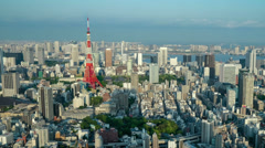 4K views of tokyo tower day to dusk Stock Footage