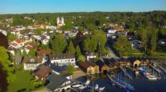 View of Lake Starnberg, Bavaria, Upper Bavaria, Germany Stock Footage