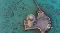 Aerial shot of lighthouse - Sanganeb, Sudan Stock Footage