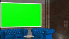 Virtual Studio Background with Green Screen wall Stock Footage