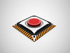 dangerous red button rendered - stock illustration