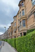 Side view of vintage facades in Edinburgh - stock photo