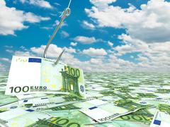 euro and fish-hook on cloudscape. financial concept.. - stock illustration