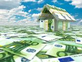 Stock Illustration of bank. house from pack of euro on cloudscape.