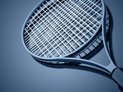 tennis racket on blue rendered - stock illustration