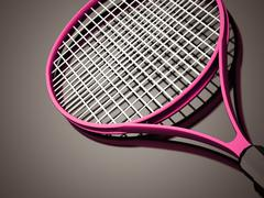 pink tennis racket rendered on dark background - stock illustration