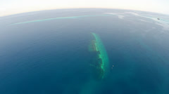Stock Video Footage of aerial shot of underwater shipwreck - Red sea, Umbria