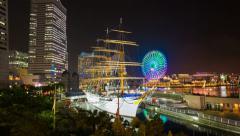 1080 - YOKOHAMA MINATO MIRAI AT NIGHT, TOKYO Stock Footage