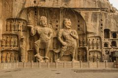 the guardian of longmen grottoes - stock photo