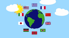 World With Flags Animation Stock Footage
