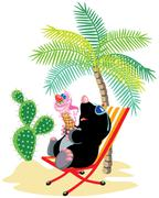mole relaxing on the beach - stock illustration