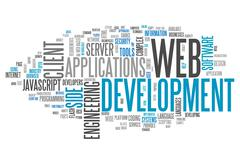 Word cloud web development Stock Illustration