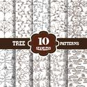 Stock Illustration of 10 seamless patterns with decorative trees, for invitations, cards, scrapbooking