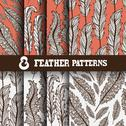 Stock Illustration of 8 seamless patterns with decorative feathers. invitations, cards, scrapbooking