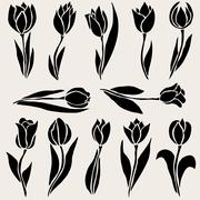 12 decorative tulips. design element. wedding invitations, cards, banners - stock illustration