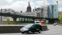 Traffic interchange in an English city. Stock Footage