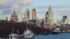 HD time lapse of boats on the River Thames and the London Financial district Stock Footage