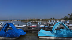 Austria Neusiedel, Marina with boats at Lake Neusiedel Stock Footage