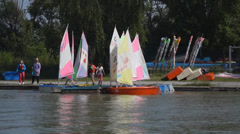 Boats on lake neusiedel Stock Footage