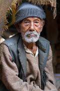 Aged nepalese man Stock Photos