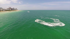Aerial Waverunner fun Miami Stock Footage
