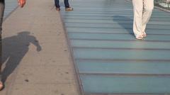 Legs on foot bridge, venecia, italy. Stock Footage