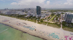 Aerial Miami beach and wave runners Stock Footage