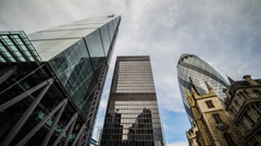 HD time lapse looking up at the London Financial District skyscrapers Stock Footage
