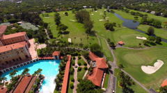 Aerial video Biltmore tower and pool Stock Footage