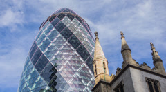 4K time lapse of the iconic Gherkin in London's Financial district - stock footage