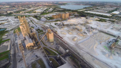 Aerial industrial site backfly Stock Footage