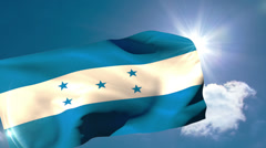 Honduran national flag blowing in the breeze Stock Footage