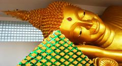 reclining buddha in thailand - stock photo