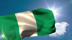 Nigerian national flag blowing in the breeze Stock Footage