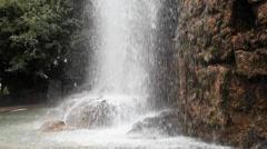 Waterfall in parc de la colline du chateau, nice, france. Stock Footage