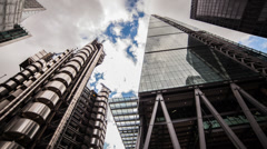 HD time lapse panning around London's City Financial district Stock Footage