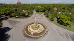 Aerial Coral Gables Fountain 2 Stock Footage