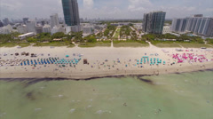 Aerial Approach Miami Beach 21st st Stock Footage