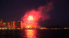 Fireworks, waikiki, oahu, hawaii. Stock Footage