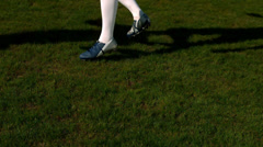 Football player controlling the ball on pitch Stock Footage